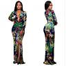 NEW WOMEN DEEP V-PLUNGE NECK FLORAL PRINT EVENING SPLIT LONG DRESS #231