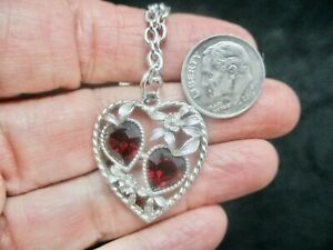 """Vintage-""""Love Story"""" Sarah Coventry July Birthstone Heart Pendant/Necklace"""