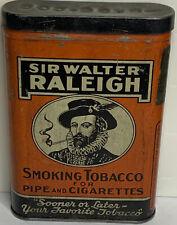 Tobacco Metal Tin, Sir Walter Raleigh With Hinged Lid, Antique Vintage No SKU