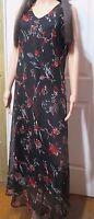 Ladies Long Black Chiffon Floral sleeveless dress size 14