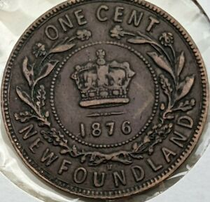 1876 H Newfoundland 1 large cent coin