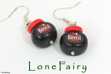 Polymer Clay Bovril Jar Food Silver Plated Earrings Retro Drop/Dangle Marmite