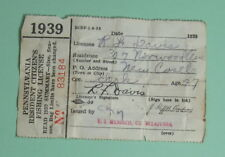 1939 Pennsylvania Resident Fishing License Vintage Conservation.Free Shipping!