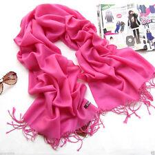 Elegant Pink Pashmina Cashmere Silk Solid Winter Warm Shawl Wrap Long Scarf