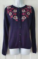 Womens Country Rose Blue Embroidered Fine Knit Vintage Landgirl Style Cardigan M