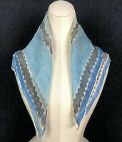1950s 1960s Vintage Silk Scarf Blue White Geometric Bold Statement Super Sheer