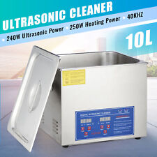 10L Ultrasonic Cleaner Cleaning Equipment Liter Industry Heated W/ Timer Heater