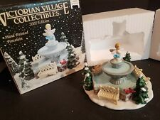 Year 2002 Victorian Village Christmas Themed Fountain Park Benches In Box