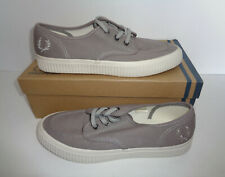 Fred Perry Ealing Mens Grey Lace Up Retro Trainers Shoes Lace Up New UK Size 8