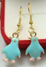 18K gilded Hook -2.1'Funny penguins Oil Painted Prom Women Earrings dr1