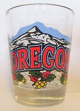 STATE OF OREGON  COLORFUL MOUTAIN RANGE & SCENERY    SHORT SHOT GLASS