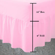 Single Pink Frilled Fitted Valance Sheet Plain Dyed Fitted Valance Sheets Pink