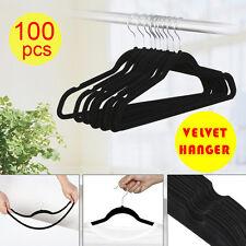 100 X Flocked Non Slip Velvet Black Clothes Hangers Suit/Shirt/Pants Hangers Set
