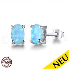NEU 🌸 Echt 925 Silber OPAL Ohrstecker BLAU Opal OVAL Leuchtend BLUE 🌸 Luxus