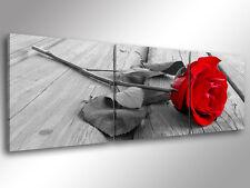Quadro Moderno 3 pz. ROSA ROSSA cm 150x50 arredamento arredo arte stampa su tela