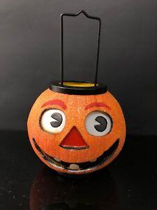 VINTAGE Jack-O-Lantern  PRIMITIVE Luminary Candle Holder Halloween Pumpkin Light