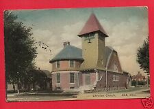 ADA OHIO OH CHRISTIAN CHURCH HAND COLORED POSTCARD SHOUPE VARSITY BOOK STORE