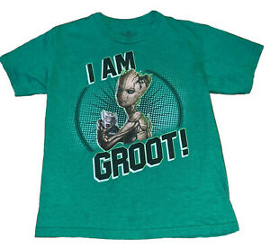 Guardians of the Galaxy GROOT Avengers T Shirt Tee Child L 10 12 Large Green Boy