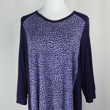 Womens XL Purple Shirt Loose Top Rayon Stretch Asymmetric Blouse 3/4 Sleeve DKNY