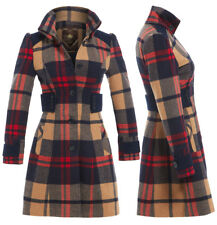 Womens Coat New Wool Ladies Duffle Winter Jacket Size 12 14 16 10 8 Check Coats
