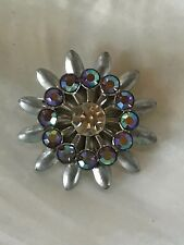 Vintage Lightweight Pewter Colored Layered Flower with Aurora Borealis & Paste