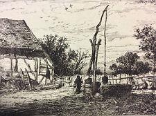 Charles Emile Jacque (1813-1894) Le puit estampe en pointe sèche XIXe 1845