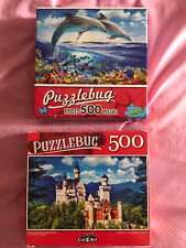 Lot Of 2 PuzzleBug 500pc Jigsaw Puzzles Castle Dolphins CraZArt