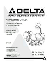 Delta 23-196 23-197 Variable Speed Grinder Instructions Manual