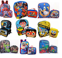 Little Boys School Large Backpack Lunch box Set Cartoon Book Bag Kids Children