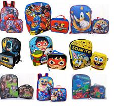Little Boys School Large Backpack Lunch box Set Cartoon Book Bag Kids Children