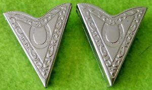 PAIR 2 Vintage Engraved Silver Cowboy WESTERN Shirt Collar Tips~EASY ATTACH~NR