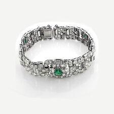 Bracelet Diamonds Emeralds 10,50 Carat Platinum Top Wesselton F fine White