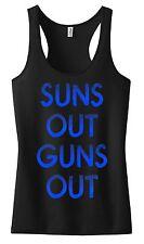 LADIES SUNS OUT GUNS OUT RACER BACK TANK TOP T SHIRT CROSSFIT MOTIVATION WORKOUT