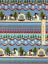 SSI FLANNEL Fabric - Polar Pals Debbie Mumm Penguin Bear Stripe Christmas Yd