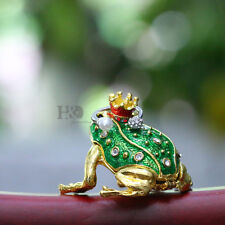Handmade Crystal Metal Frog Trinket Boxes Figurines Jewellery Collectibles Gifts