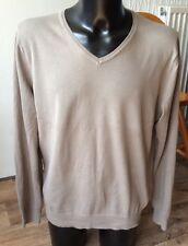 """H&M khaki mens 100% Cotton sweater size L approx 48"""" chest"""