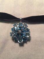 Vintage Genuine Blue Topaz Filigree Flower 925 Sterling Silver Pendant