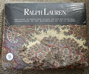 "Ralph Lauren Twin Fitted Sheet  - 'Emerson Paisley"" pattern - New"