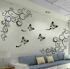 Floral Black Butterfly Decals TV Wallpaper Backdrop Artwork Murals Home Stickers