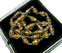 VINTAGE JEWELLERY SPARKLING CZECH AMBER FACETTED GLASS BEAD NECKLACE
