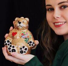 Kathrine Baumann TEDDY BEAR swarovski CRYSTAL PURSE JUDITH LEIBER MIRROR