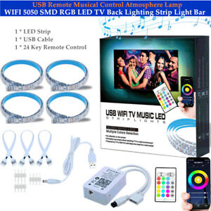WIFI 5050 SMD RGB LED TV Back Lighting Strip Light Bar USB Atmosphere Lamp 2m