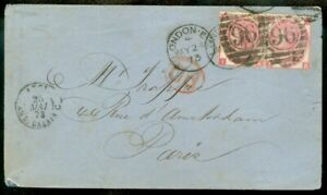 EDW1949SELL : GREAT BRITAIN 1873 cover to France franked with Scott #49, SG #103