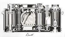 Leica cross-section diagram original fine art print etching