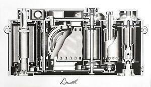 Leica cross-section diagram original fine art print etching