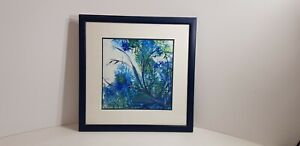 STUNNING INK ENCAUSTIC PAINTING ''MYSTIC BLUE'' ARTIST EVELYN SWALE