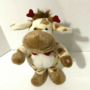 """Russ Plush Musical Giraffe 12"""" Standing Smiling Face Valentine Red Bow My Girl"""