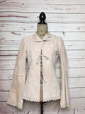 Bebe Pink Boho Genuine Leather Patchwork Scalloped Jacket Coat Size S -G