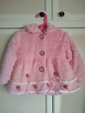 Pink faux fur coat with roses, lace, & soft fleecy lining ~ size 9 - 12 months