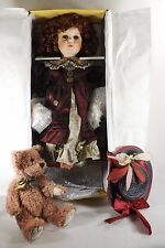 """Large 24"""" Seymour Mann Porcelain Musical Doll New In Box Complete w/Hat & Bear"""